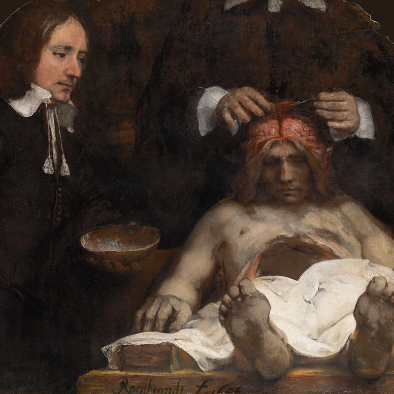 Painting of two men examining the brain of a dead man on a table with a white cloth over his legs.