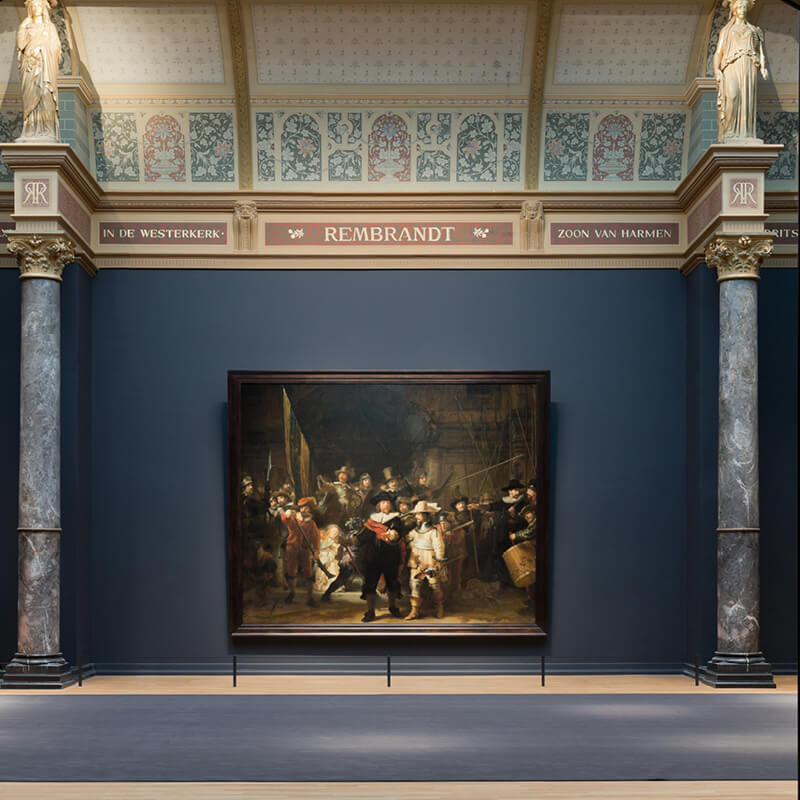 The Night watch painting by Rembrandt exhibited in the Rijksmuseum in Amsterdam.