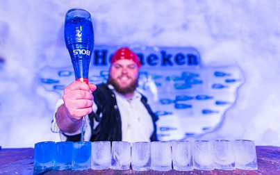 A bartender at the Amsterdam Icebar.