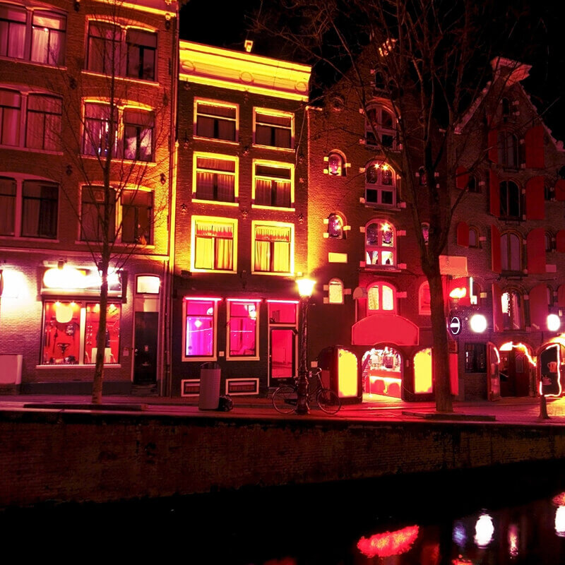 View from a canal of the Red Light District.