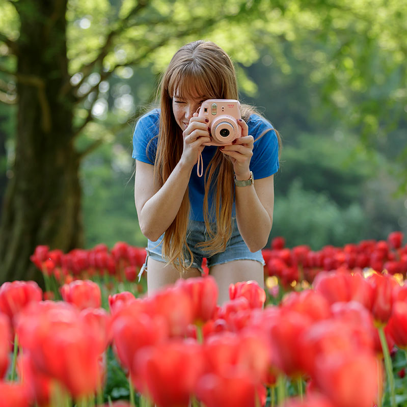 Girl taking a picture of red tulips at Keukenhof.