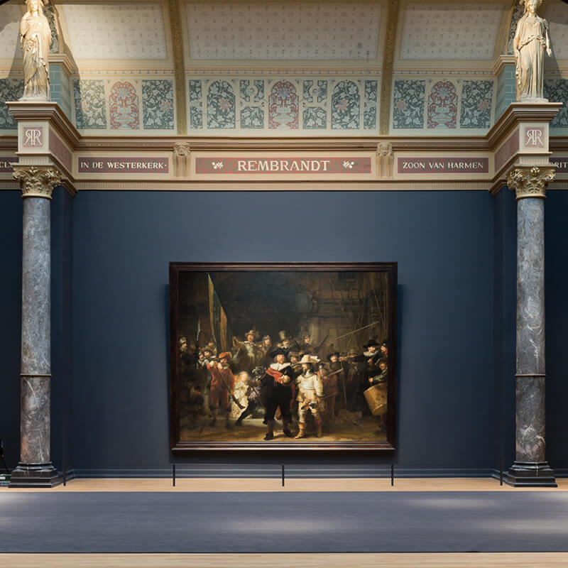 The Night watch displayed at the Rijksmuseum in Amsterdam.