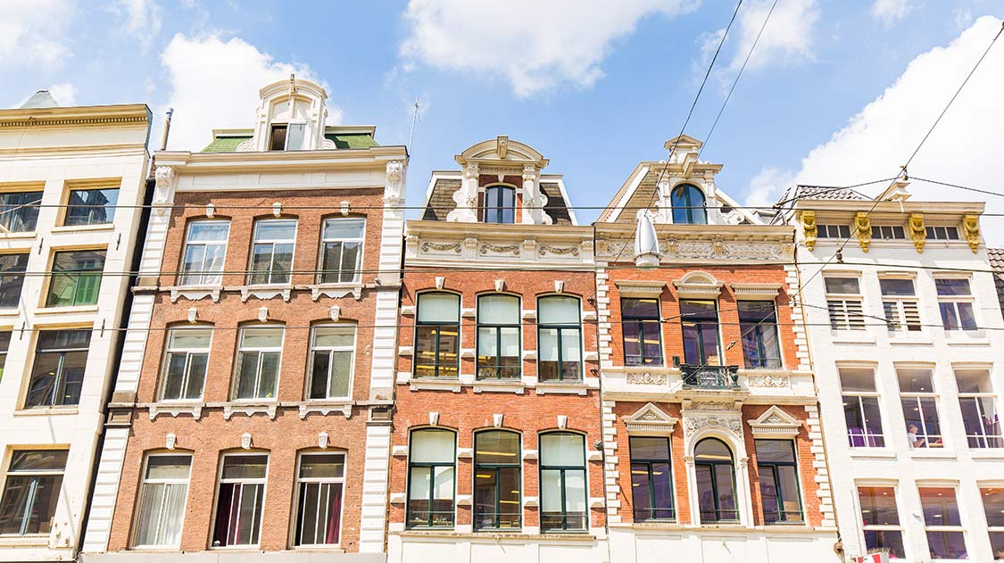 Traditional Dutch houses in Amsterdam.