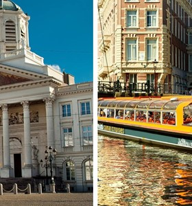 Brussels & Antwerp Tour + Amsterdam Canal Cruise 1h.