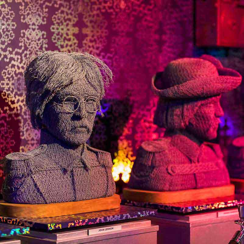 Statues of the Beatles made from chicken wire in Ripley's Amsterdam