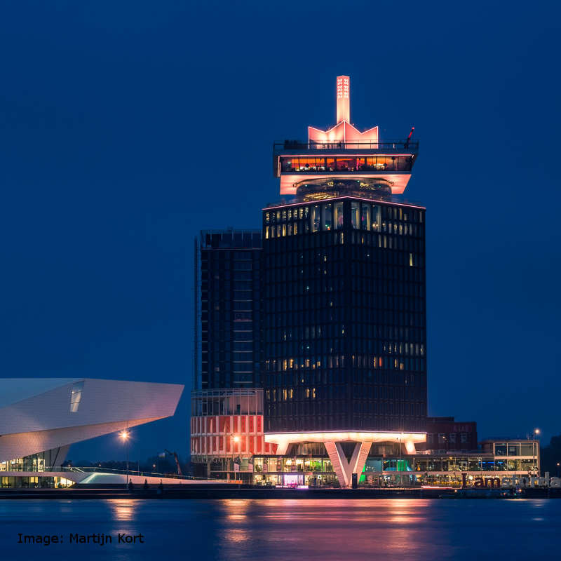 View of the A'Dam lookout at night.